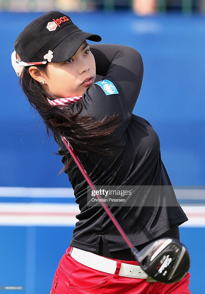 Moriya Jutanugarn of Thailand hits a tee shot on the first hole during the third round of the RR Donnelley LPGA Founders Cup at Wildfire Golf Club on March 16, 2013 in Phoenix, Arizona.