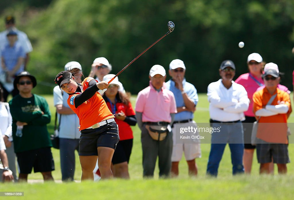 Moriya Jutanugarn of Thailand hits her second shot on the fifth hole during the second round of the LPGA LOTTE Championship Presented by J Golf at the Ko Olina Golf Club on April 18, 2013 in Kapolei, Hawaii.
