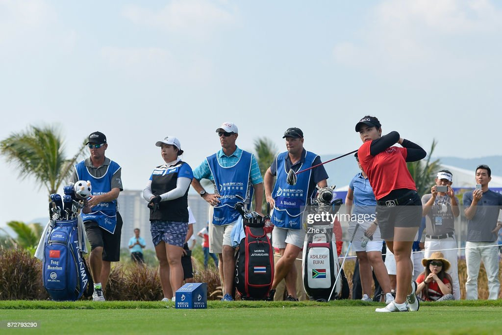 Moriya Jutanugarn of Thailand plays a shot on the 16th hole during the final round of the Blue Bay LPGA at Jian Lake Blue Bay golf course on November 11, 2017 in Hainan Island, China.