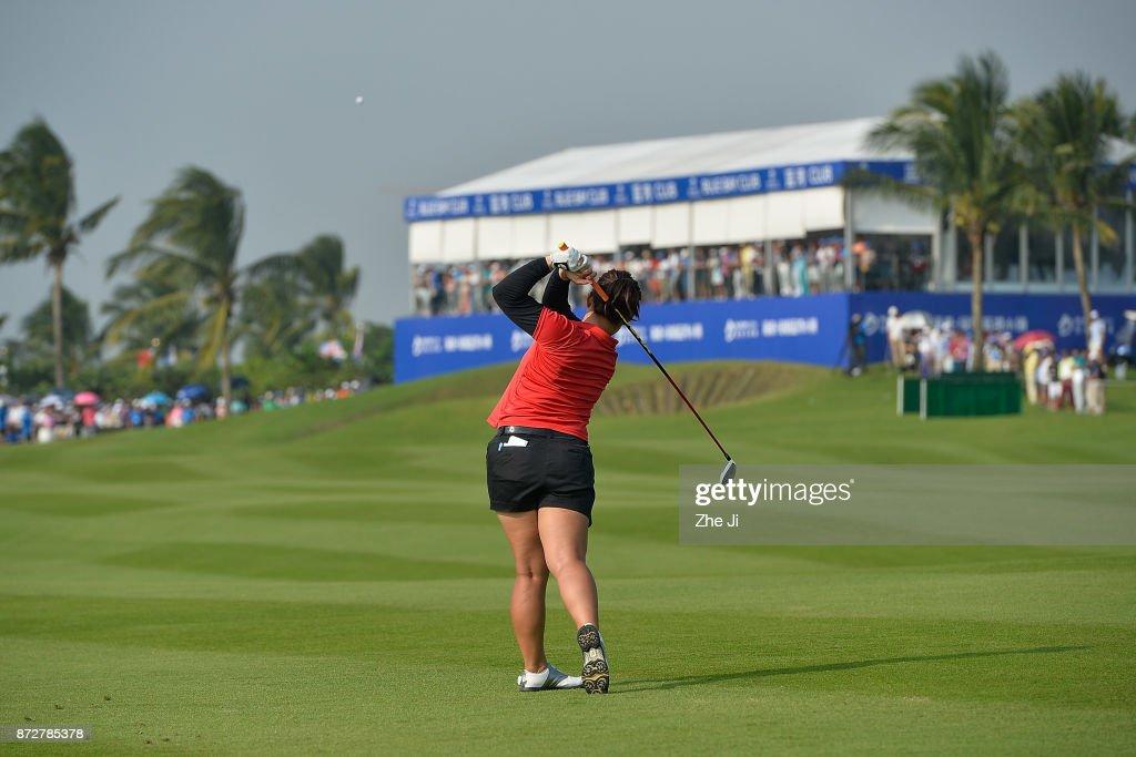 Moriya Jutanugarn of Thailand plays a shot on the 18th hole during the final round of the Blue Bay LPGA at Jian Lake Blue Bay golf course on November 11, 2017 in Hainan Island, China.