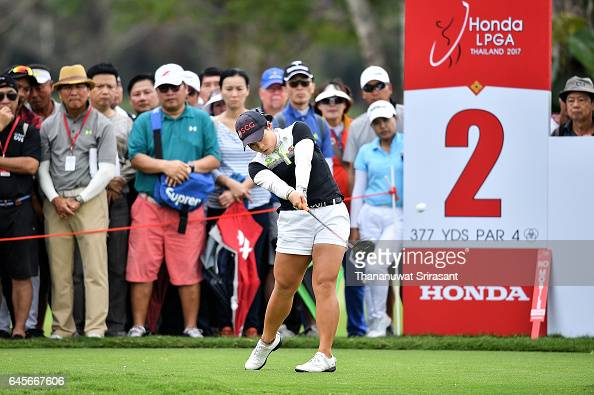 Moriya Jutanugarn of Thailand tee off at 2nd hole during the final round of Honda LPGA Thailand at Siam Country Club on February 26 2017 in Chonburi...