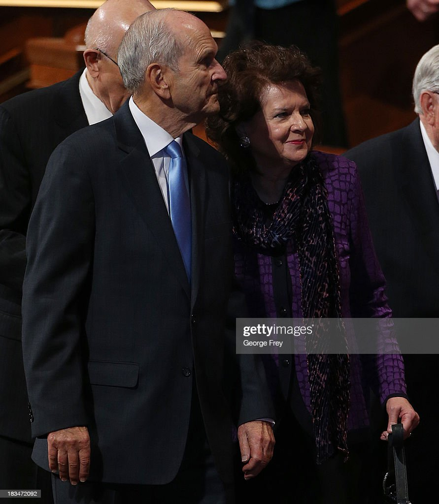 Mormon Apostle Russel M. Nelson (L) and his wife Wendy L. Watson (R) leave the fourth session of the 183rd Semi-Annual General Conference of the Church of Jesus Christ of Latter-Day Saints in Salt Lake City, Utah on October 6, 2013. Nelson was one of two Mormon church leaders who criticized gay marriage in his talk where he said 'Marriage between a man and a woman is fundamental to the LordÕs doctrine and crucial to GodÕs eternal plan,'