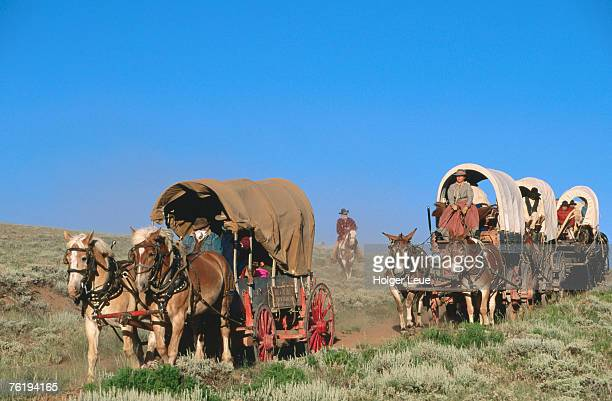 Mormons on horse carriages, Mormon Pioneer Wagon Train to Utah, near South Pass, Wyoming, United States of America, North America