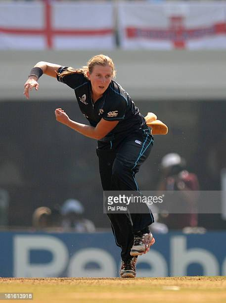 Morna Nielsen of New Zealand bowls during the Super Sixes match between England and New Zealand held at the CCI on February 13 2013 in Mumbai India