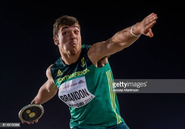 Morne Brandon of South Africa competes in the boys discus throw final during day 4 of the IAAF U18 World Championships at Moi International Sports...