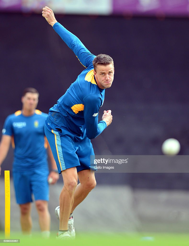 Morne Morkel during the South African national cricket team training session and press conference at SuperSport Park on February 08, 2016 in Pretoria, South Africa.