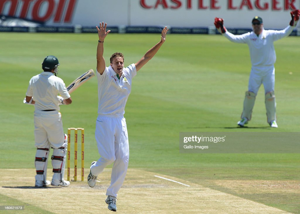 <a gi-track='captionPersonalityLinkClicked' href=/galleries/search?phrase=Morne+Morkel&family=editorial&specificpeople=4064354 ng-click='$event.stopPropagation()'>Morne Morkel</a> of South Africa appeals for a lbw during day 2 of the 1st Test match between South Africa and Pakistan at Bidvest Wanderers Stadium on February 02, 2013 in Johannesburg, South Africa.