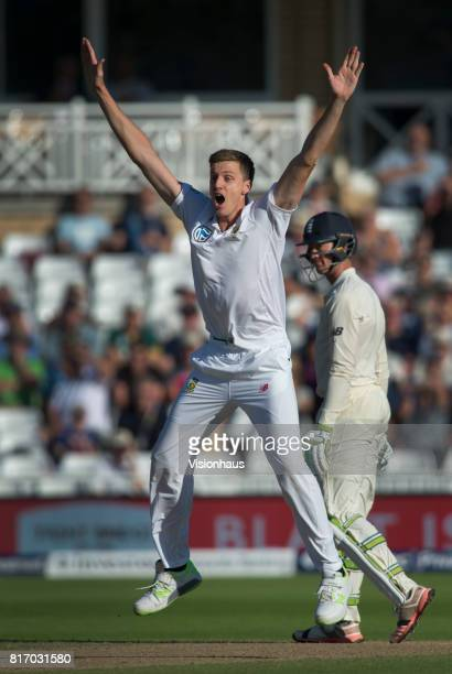 Morne Morkel of South Africa appeals for LBW during the third day of the second test between England and South Africa at Trent Bridge on July 16 2017...