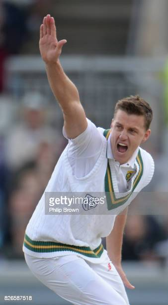 Morne Morkel of South Africa appeals for the dismissal of Jonny Bairstow on the second day of the 4th Investec Test match between England and South...