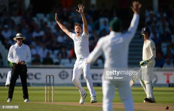 Morne Morkel of South Africa appeals for the wicket of Alastair Cook of England during the third day of the 2nd Investec Test match between England...