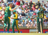 Morne Morkel of South Africa appeals successfully after a DRS challenge decision that would dismiss Matthew Wade of Australia during the One Day...