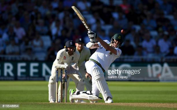 Morne Morkel of South Africa bats during day three of the 2nd Investec Test match between England and South Africa at Trent Bridge on July 16 2017 in...