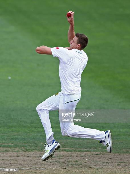 Morne Morkel of South Africa bowls during day three of the Test match between New Zealand and South Africa at Seddon Park on March 27 2017 in...