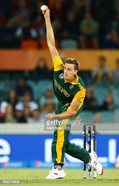 Morne Morkel of South Africa bowls during the 2015 ICC Cricket World Cup match between South Africa and Ireland at Manuka Oval on March 3 2015 in...