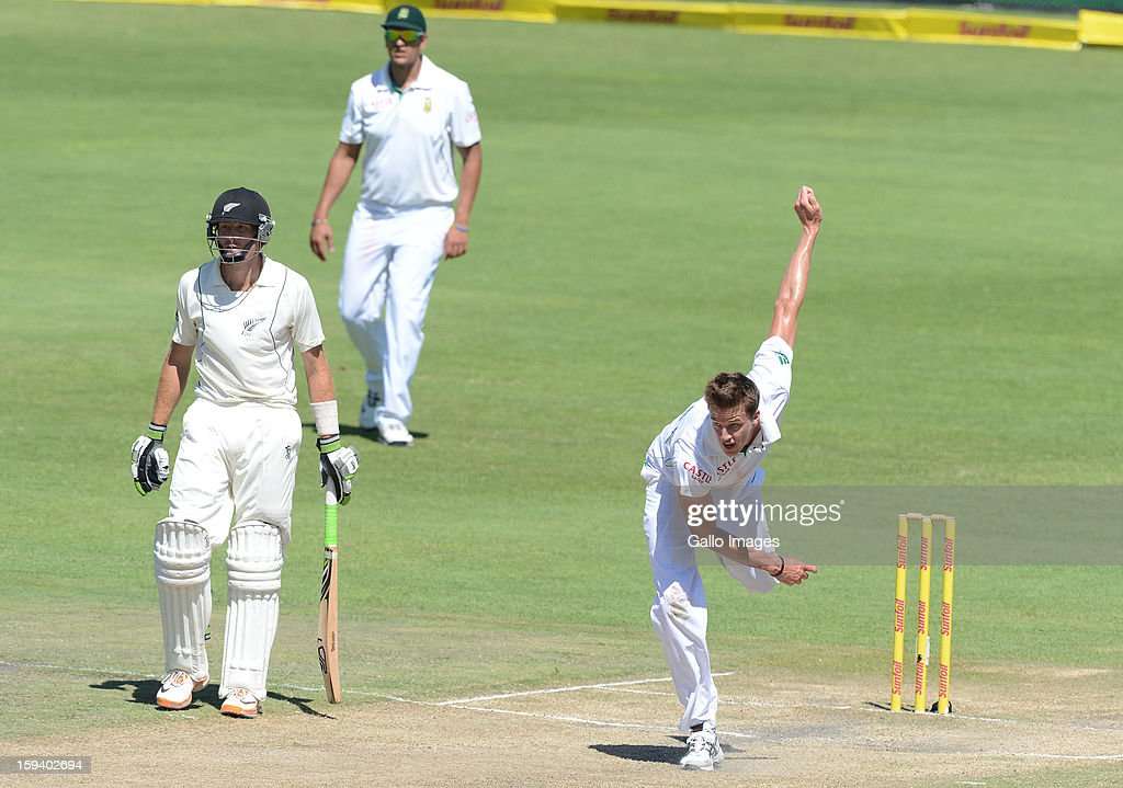 AFRICA - JANUARY 13, Morne Morkel of South Africa bowlsduring day 3 of the 2nd Test match between South Africa and New Zealand at Axxess St Georges on January 13, 2013 in Port Elizabeth, South Africa.