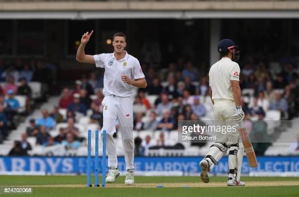 Morne Morkel of South Africa celebrates after bowling Alastair Cook of England during day three of the 3rd Investec Test match between England and...