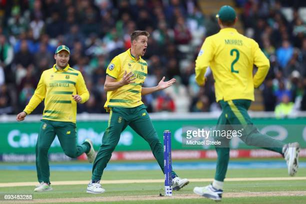 Morne Morkel of South Africa celebrates capturing the wicket of Fakhar Zaman of Pakistan during the ICC Champions Trophy match between Pakistan and...