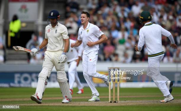 Morne Morkel of South Africa celebrates dismissing Alastair Cook of England during day three of the 4th Investec Test match between England and South...