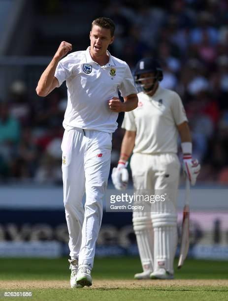 Morne Morkel of South Africa celebrates dismissing Dawid Malan of England during day one of the 4th Investec Test between England and South Africa at...