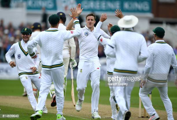 Morne Morkel of South Africa celebrates dismissing Keaton Jennings of England during day two of the 2nd Investec Test match between England and South...