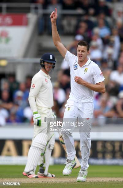 Morne Morkel of South Africa celebrates dismissing Tom Westley of England during day three of the 4th Investec Test match between England and South...