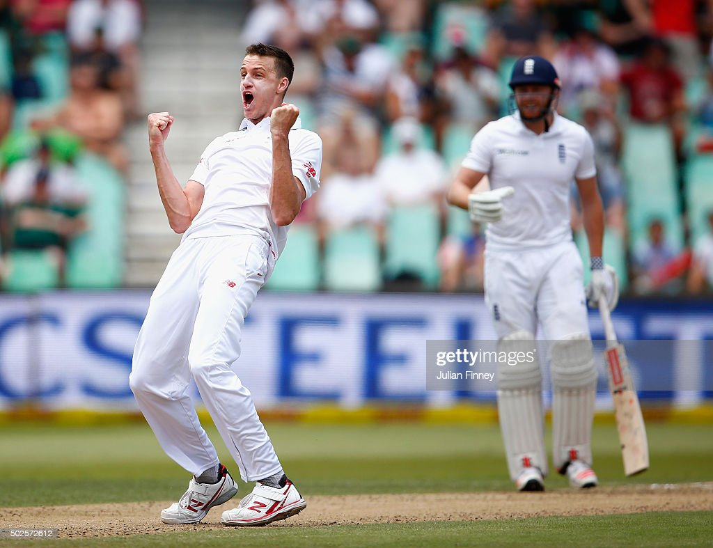Morne Morkel of South Africa celebrates taking the wicket of Chris Woakes of England during day two of the 1st Test between South Africa and England at Sahara Stadium Kingsmead on December 27, 2015 in Durban, South Africa.