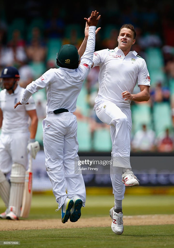 Morne Morkel of South Africa celebrates taking the wicket of Moeen Ali of England during day two of the 1st Test between South Africa and England at Sahara Stadium Kingsmead on December 27, 2015 in Durban, South Africa.