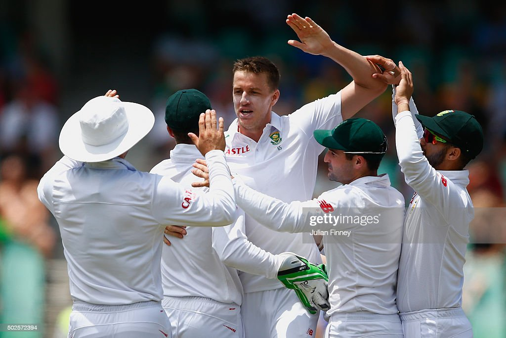 Morne Morkel of South Africa celebrates taking the wicket of Nick Compton of England during day two of the 1st Test between South Africa and England at Sahara Stadium Kingsmead on December 27, 2015 in Durban, South Africa.