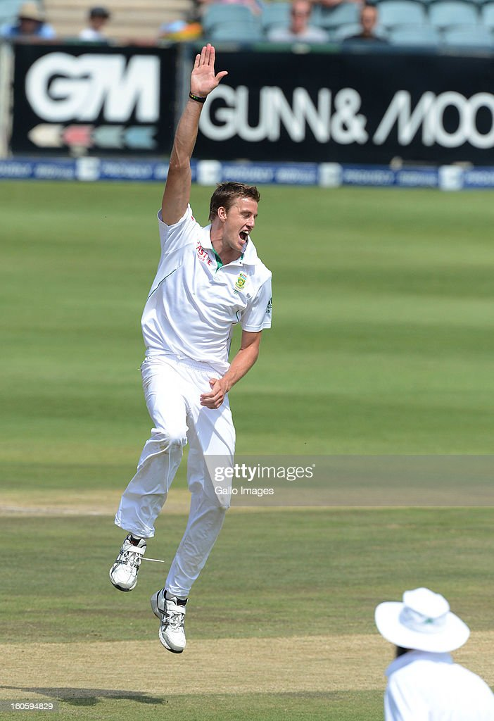 Morne Morkel of South Africa celebrates taking the wicket of Younis Khan of Pakistan for 15 runs during day 3 of the 1st Test match between South Africa and Pakistan at Bidvest Wanderers Stadium on February 03, 2013 in Johannesburg, South Africa.