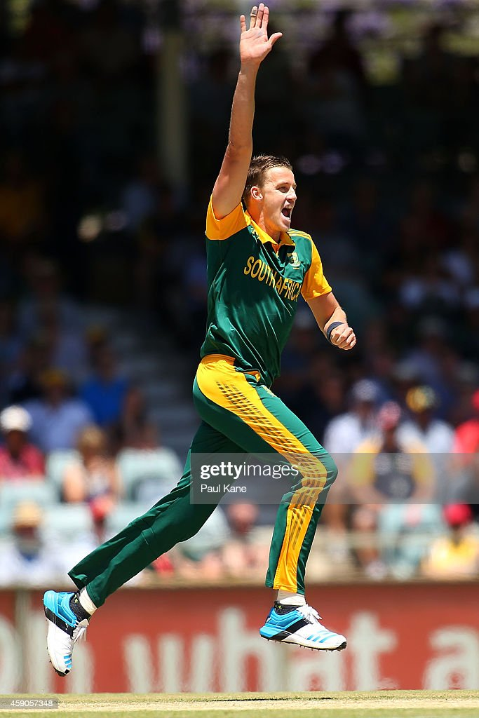 Morne Morkel of South Africa celebrates the dismissal of David Warner of Australia during the One Day International match between Australia and South Africa at WACA on November 16, 2014 in Perth, Australia.