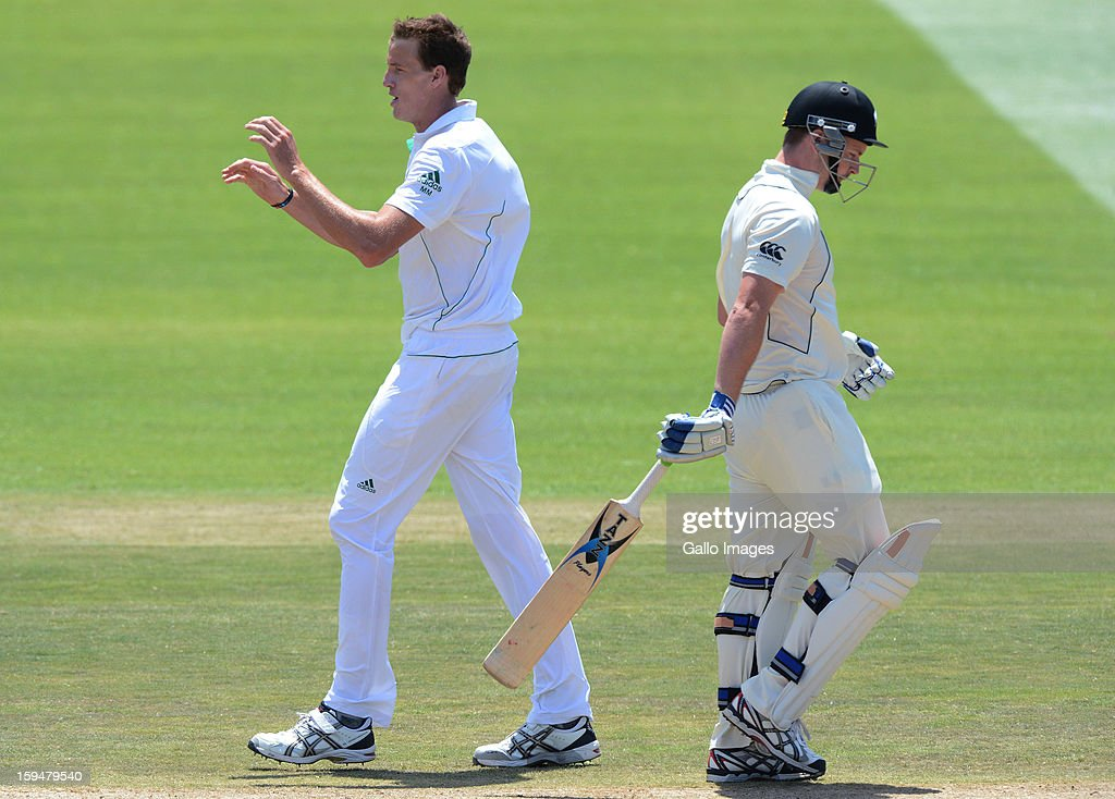 <a gi-track='captionPersonalityLinkClicked' href=/galleries/search?phrase=Morne+Morkel&family=editorial&specificpeople=4064354 ng-click='$event.stopPropagation()'>Morne Morkel</a> of South Africa celebrates the wicket of Colin Munro of New Zealand for 15 runs during day 4 of the 2nd Test match between South Africa and New Zealand at Axxess St Georges on January 14, 2013 in Port Elizabeth, South Africa.