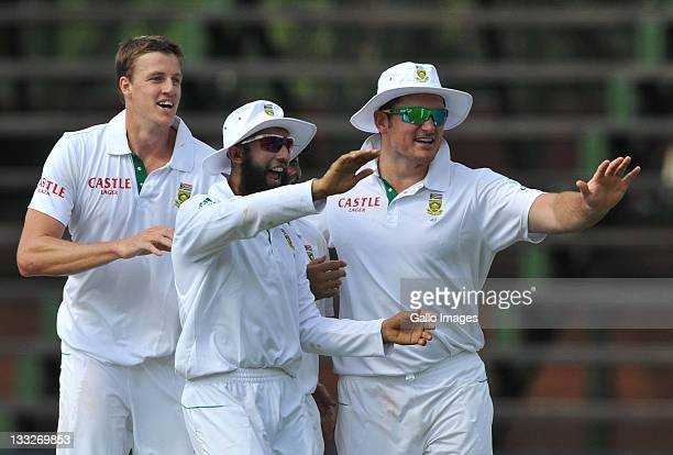 Morne Morkel of South Africa celebrates the wicket of Michael Clarke of Australia for 11 runs during day 2 of the 2nd Test match between South Africa...