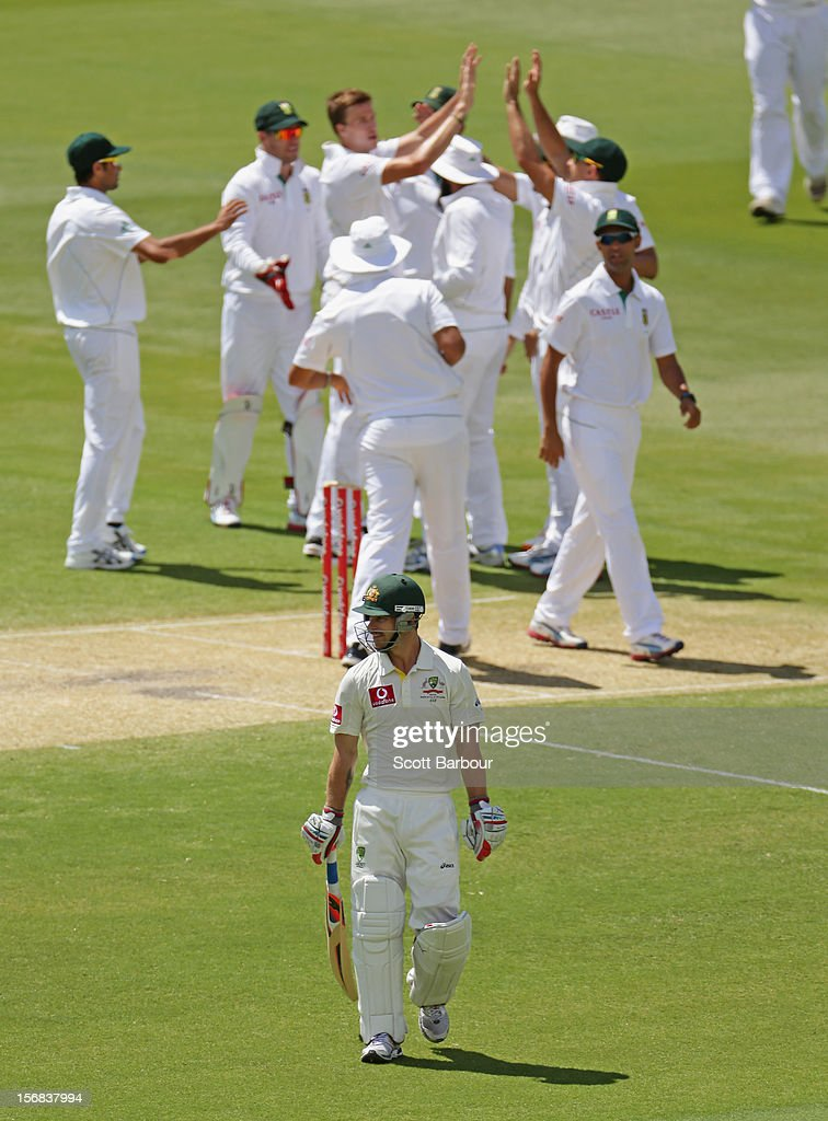 Morne Morkel of South Africa celebrates with his team mates after dismissing Matthew Wade of Australia during day two of the Second Test match between Australia and South Africa at Adelaide Oval on November 23, 2012 in Adelaide, Australia.