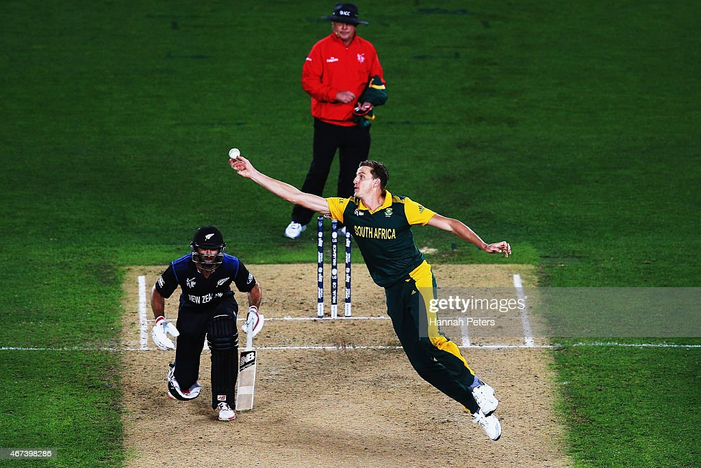 Morne Morkel of South Africa fields off his own bowling during the 2015 Cricket World Cup Semi Final match between New Zealand and South Africa at Eden Park on March 24, 2015 in Auckland, New Zealand.