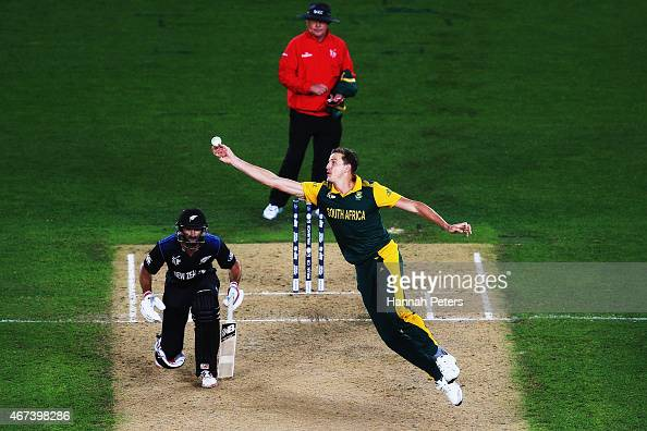 Morne Morkel of South Africa fields off his own bowling during the 2015 Cricket World Cup Semi Final match between New Zealand and South Africa at...