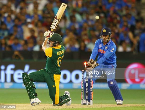 Morne Morkel of South Africa is bowled out by Ravichandran Ashwin as wicketkeeper MS Dhoni of India looks on during the 2015 ICC Cricket World Cup...