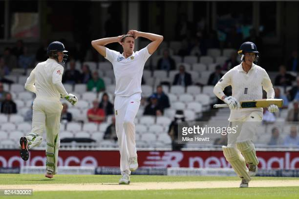 Morne Morkel of South Africa looks on as Keaton Jennings and Tom Westley of England take a quick single during Day Four of the 3rd Investec Test...