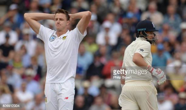 Morne Morkel of South Africa reacts as Joe Root of England takes a run during the third day of the 4th Investec Test match between England and South...
