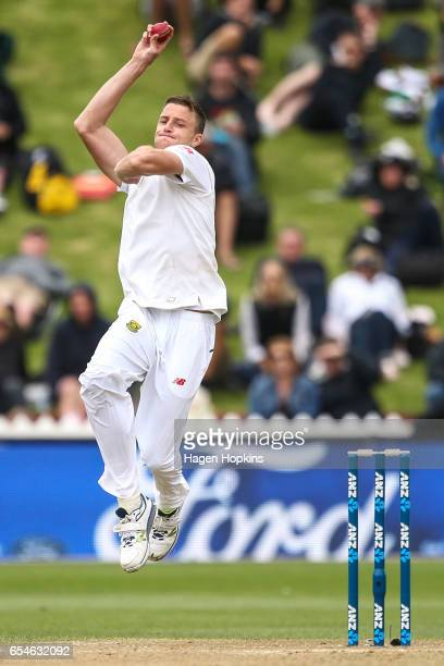 Morne Morkell of South Africa b owls during day three of the test match between New Zealand and South Africa at Basin Reserve on March 18 2017 in...