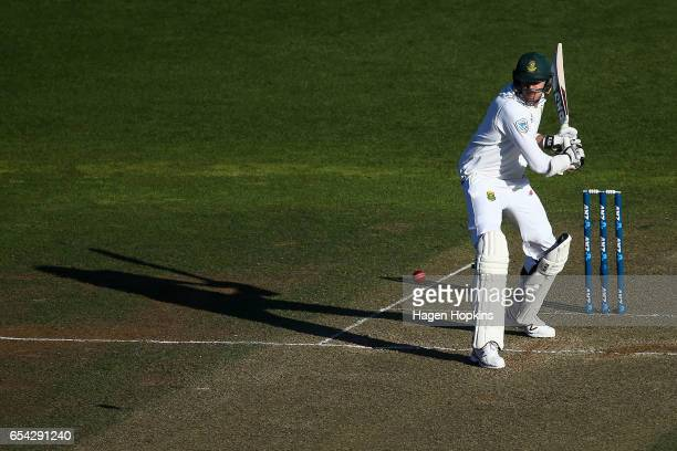 Morne Morkell of South Africa bats during day two of the test match between New Zealand and South Africa at Basin Reserve on March 17 2017 in...