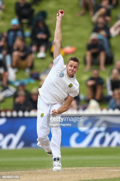 Morne Morkell of South Africa bowls during day three of the test match between New Zealand and South Africa at Basin Reserve on March 18 2017 in...