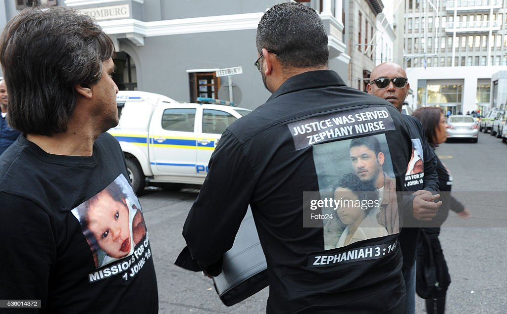 Morne Nurse and his supporters outside the Western Cape High Court during sentencing of the woman who kidnapped his child in 1997 on May 30, 2016 in Cape Town, South Africa. During the trial, the prosecution revealed that it would call Zephany to testify against the woman who raised her as her own for 18 years.