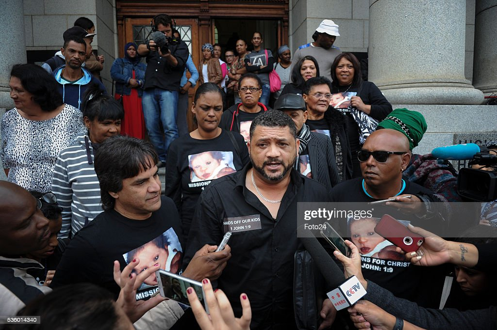 Morne Nurse and speaks to the media outside the Western Cape High Court during sentencing of the woman who kidnapped his child in 1997 on May 30, 2016 in Cape Town, South Africa. During the trial, the prosecution revealed that it would call Zephany to testify against the woman who raised her as her own for 18 years.