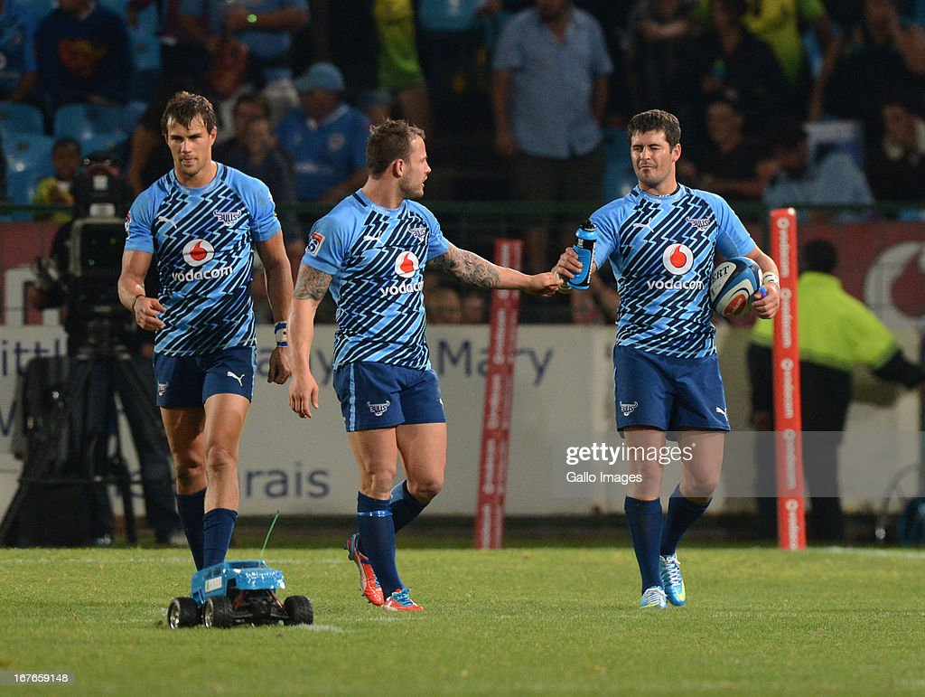 Morne Steyn of the Bulls celebrates his winning try with Francois Hougaard during the Super Rugby match between Vodacom Bulls and Waratahs at Loftus Versveld on April 27, 2013 in Pretoria, South Africa.
