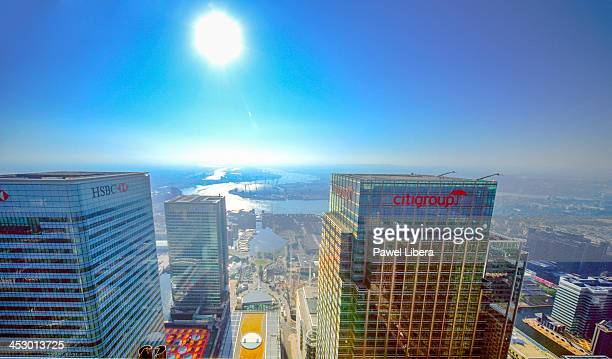 Morning aerial view from One Canada Square Tower aka Canary Wharf on London Docklands skyline with HSBC and Citibank Towers