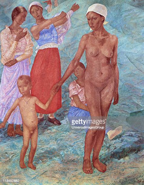 Morning Bathers' 1917 Oil on canvas Kuzma PetrovVodkin Russian painter Women partly and fully dressed Woman and small boy naked Nude Female Male