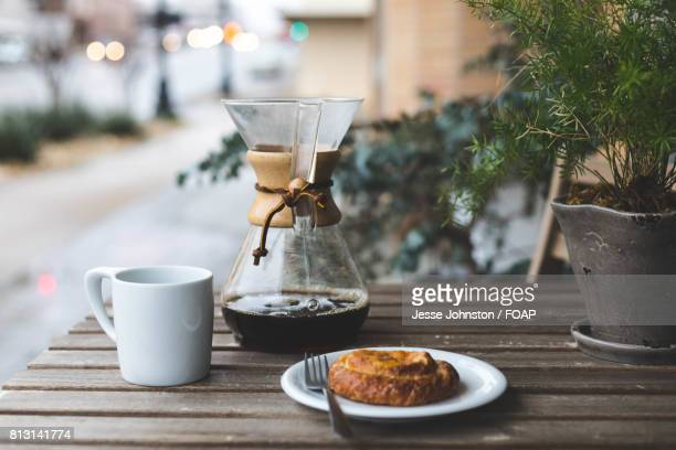 Morning breakfast with coffee