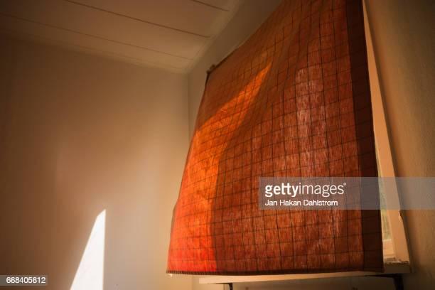 Morning breeze blowing through sunlit curtain