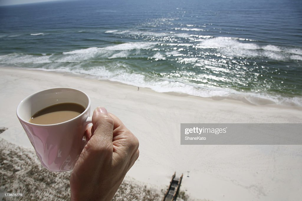 Morning coffee on balcony overlooking beach and ocean for Balcony overlooking ocean