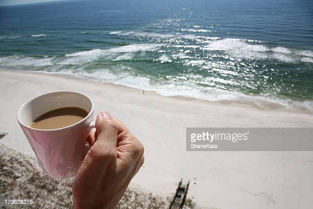 Morning Coffee on Balcony overlooking Beach and Ocean